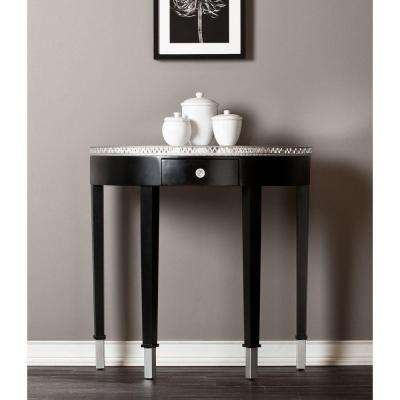 Starling Demilune Half Round Console Table in Black with Mirrored Top