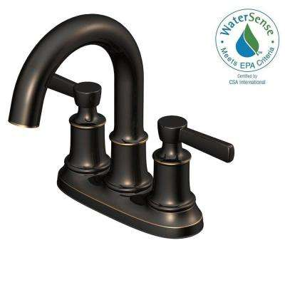 4 in. Centerset 2-Handle High-Arc Bathroom Faucet in Oil Rubbed Bronze and Ceramic Disc Cartridge with Pop-Up Assembly