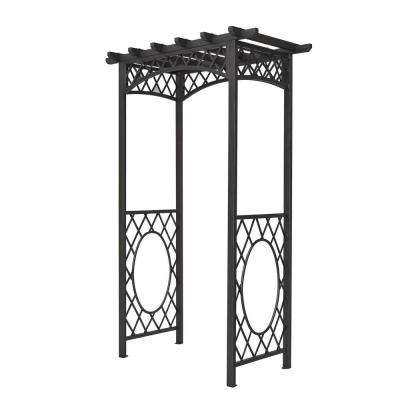 English Garden 56 in. x 88 in. Gunmetal Grey Steel Arbor