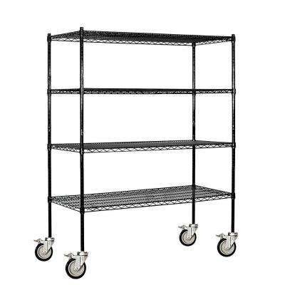 9500M Series 60 in. W x 69 in. H x 18 in. D Industrial Grade Welded Wire Mobile Wire Shelving in Black