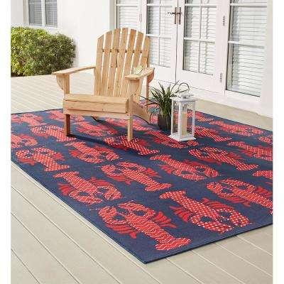 Lobster Blue/Red 8 ft. x 11 ft. Indoor/Outdoor Area Rug