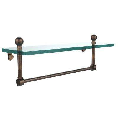 Mambo 16 in. W Glass Vanity Shelf with Integrated Towel Bar in Venetian Bronze