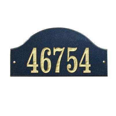Ridgecrest Arch Granite Address Plaque in Black Polished Stone Color