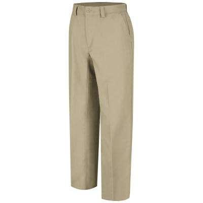 Men's Khaki Plain Front Work Pant