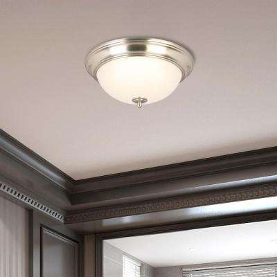 13 in. 180-Watt Equivalent Brushed Nickel Integrated LED Flush Mount with Frosted Glass Shade (2-Pack)