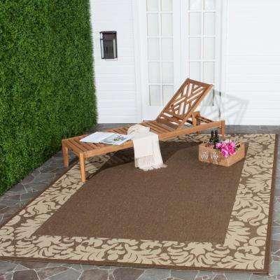 Courtyard Chocolate/Natural 9 ft. x 12 ft. Indoor/Outdoor Area Rug