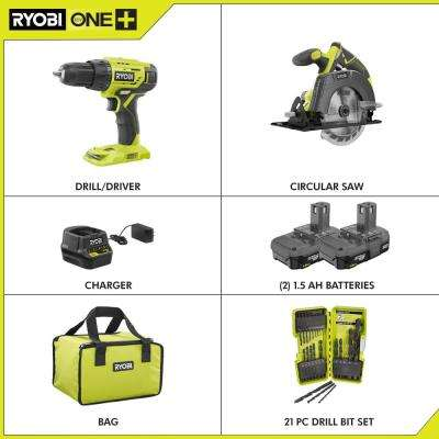 18-Volt Cordless ONE+ Drill/Driver, Circular Saw Kit w/(2) 1.5 Ah Batteries, Charger, Bag and Black Oxide Drill Bit Set
