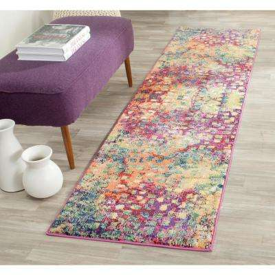 Monaco Pink/Multi 2 ft. x 18 ft. Runner Rug