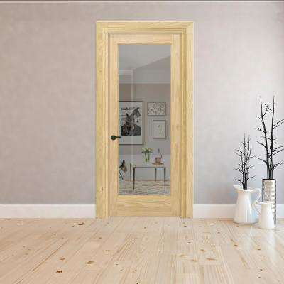 36 in. x 80 in. Full Lite Clear Glass Right-Hand Unfinished Pine Wood Single Prehung Interior Door with Bronze Hinges
