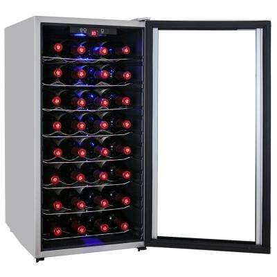 32-Bottle Single Zone Thermoelectric Wine Cooler in Silver