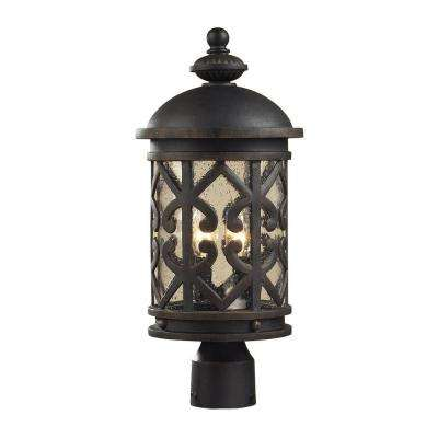 Tuscany Coast 2-Light Outdoor Weathered Charcoal Post Light