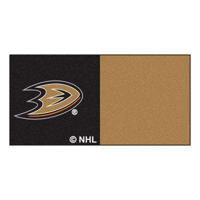 NHL - Anaheim Ducks Black and Brown Pattern 18 in. x 18 in. Carpet Tile (20 Tiles/Case)