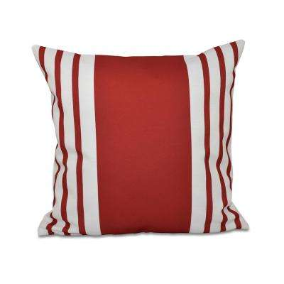 16 in. x 16 in. Big and Bold Stripe Decorative Pillow in Red