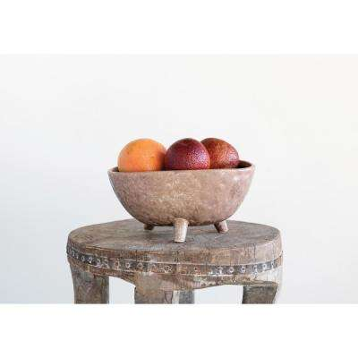 4.25 in. H Brown Ceramic Footed Planter