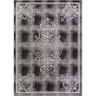Ash Ferah Medallion Grey 5 ft. 3 in. x 7 ft. 3 in. Contemporary Area Rug
