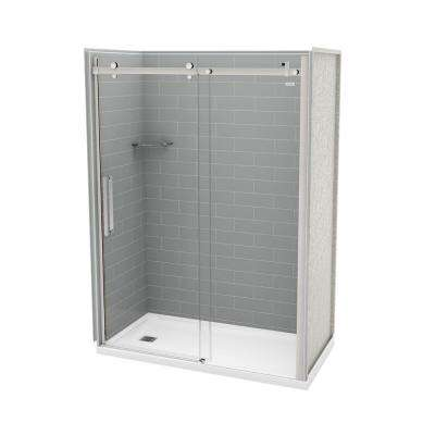32 in. x 60 in. x 83.5 in. Direct-to-Stud Left Alcove Shower Kit in Metro Ash Grey and Chrome Door