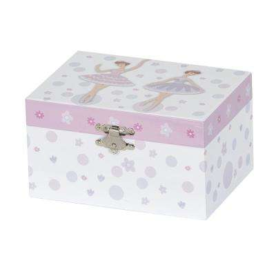 Jeannie Girl's White Fashion Paper Musical Ballerina Jewelry Box