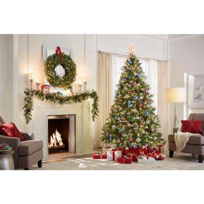 9 ft. Sparkling Amelia Pine Pre-Lit Artificial Christmas Garland with 120 Tips and 50 Clear Lights