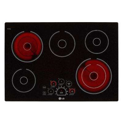 30 in. Smooth Surface Electric Cooktop in Black with 5 Elements