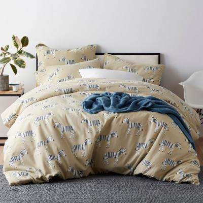 Zebra Herd Flannel Duvet Cover