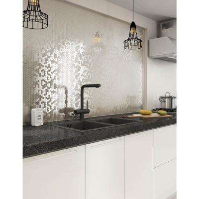 Hexagonia S2 Silver 11.46 in. x 11.89 in. x 5mm Metal Self-Adhesive Mosaic Wall Tile (22.8 sq. ft. / case)