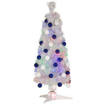 3 ft. White Fiber Optic Fireworks Ornament Artificial Christmas Tree