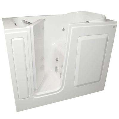 Gelcoat 4 ft. Left Quick Drain Walk-In Whirlpool Tub in White