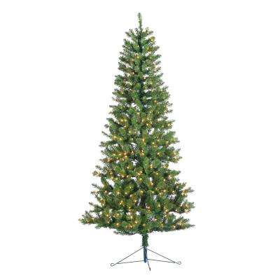7 ft. Indoor Pre-Lit Glenwood Spruce Artificial Christmas Corner Tree with 300 UL Clear Lights