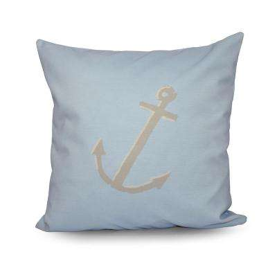 16 in. x 16 in. Decorative Anchor Pillow in Oatmeal