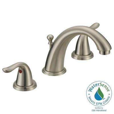 Impression Collection 8 in. Widespread 2-Handle Contemporary Flair Bathroom Faucet in Brushed Nickel with Brass Pop-Up