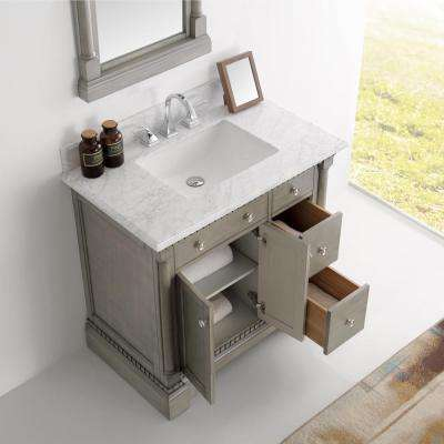 Kingston 36 in. Vanity in Antique Silver with Marble Vanity Top in Carrera White with White Ceramic Basin and Mirror