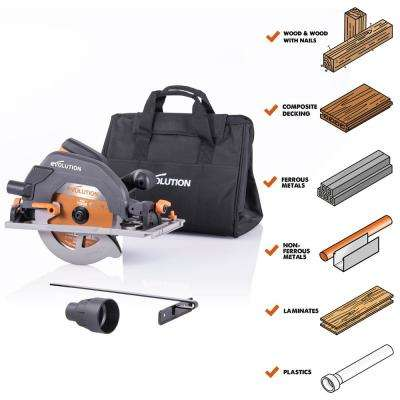15 Amp 7-1/4 in. Circular Track Saw with Storage Bag, LED Light, Electric Brake, 13 ft. Power Cord, Multi-Material Blade