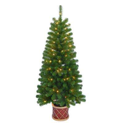 4.5 ft. Pre-Lit Artificial Christmas Porch Tree with Clear Lights and Drum Pot