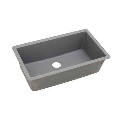 Quartz Classic Undermount Composite 33 in. Single Bowl Kitchen Sink in Greystone