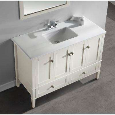 Chelsea 48 in. Bath Vanity in Soft White with Engineered Quartz Marble Vanity Top in White with White Basin