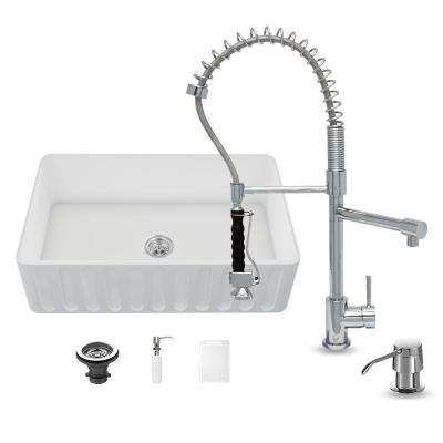 All-in-One Matte Stone Farmhouse 33 in. 0-Hole Kitchen Sink and Zurich Chrome Faucet Set