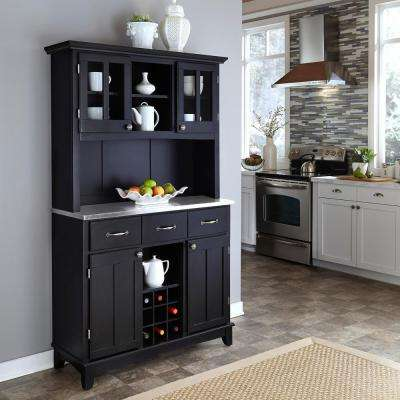 Black Buffet with Stainless Top and Hutch