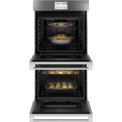 27 in. Smart Double Electric Wall Oven with Convection Self-Cleaning in Platinum Glass
