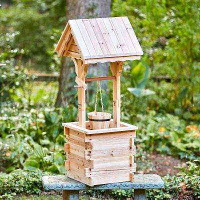 Natural Decorative Wood Wishing Well