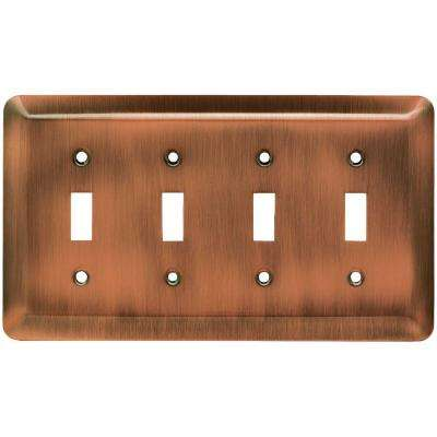 Stamped Round 4 Toggle Switch Wall Plate - Antique Copper