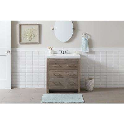 Woodbrook 30 in. W x 19 in. D Bath Vanity in White Washed Oak with Cultured Marble Vanity Top in White with White Sink
