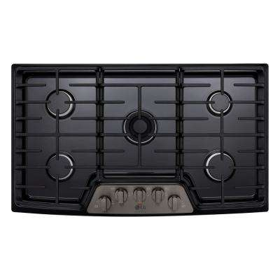36 in. Gas Cooktop in Black Stainless Steel with 5 Burners including Ultraheat Dual Burner