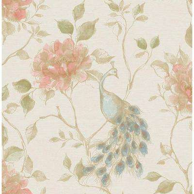 56.4 sq. ft. Dynasty Cream Peacock Wallpaper