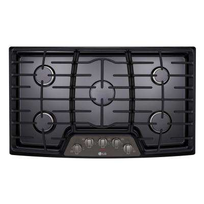 36 in. Gas Cooktop in Black Stainless Steel with 5 Burners including 17K SuperBoil Burner