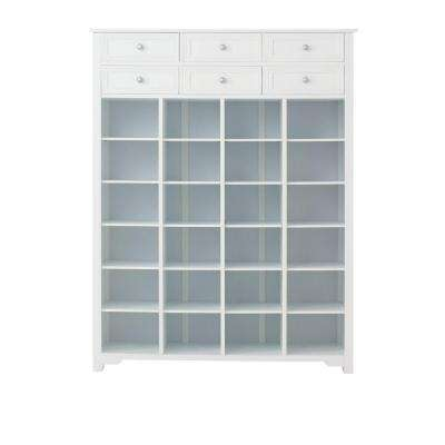 Oxford 54 in. H White Shoe Storage Cabinet with 2-Layer Drawer