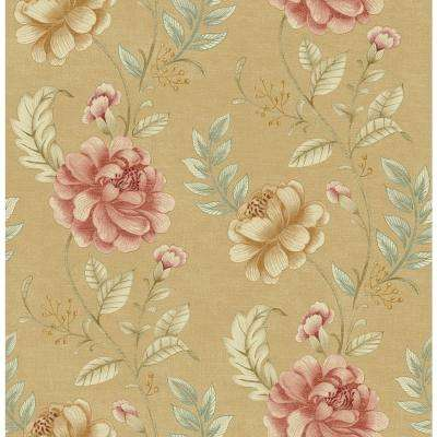 56.4 sq. ft. Summer Palace Beige Floral Trail Wallpaper
