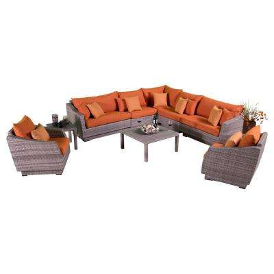Cannes 9-Piece Patio Corner Sectional and Club Chair Seating Group with Tikka Orange Cushions
