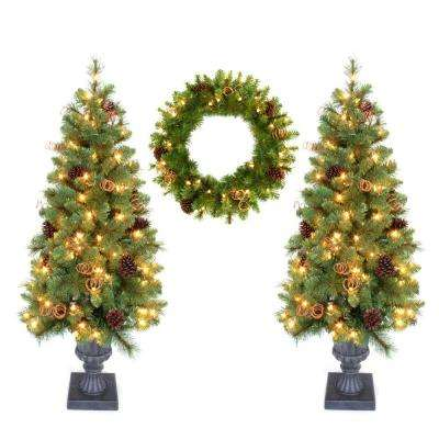 Double 4 ft. Pot Tree Artificial Christmas Tree and 24 in. Wreath with Clear Lights, Pinecones