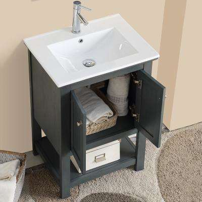Bradford Regal 24 in. W Traditional Bathroom Vanity in Gray with Ceramic Vanity Top in White with White Basin