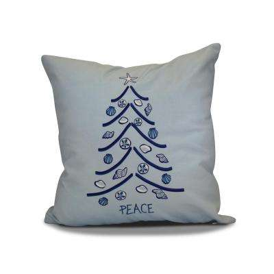 16 in. Sand Tree Holiday Blue Pillow